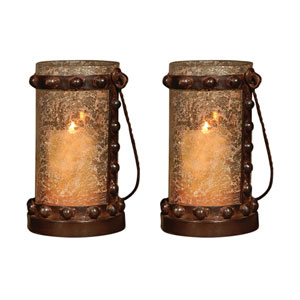 Mission Artifact Multi-Colored Outdoor Lantern, Set of Two