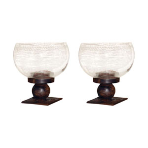 Mission Metal and Glass Five-Inch Candle Holder, Set of Two