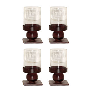 Mission Metal and Glass Candle Holder, Set of Four