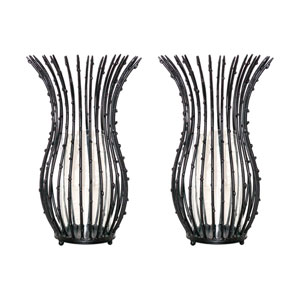 Urban Grass Metal and Glass 14-Inch Candle Holder, Set of Two