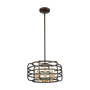 Capistrano Oil Rubbed Bronze and Satin Brass Five-Light Pendant