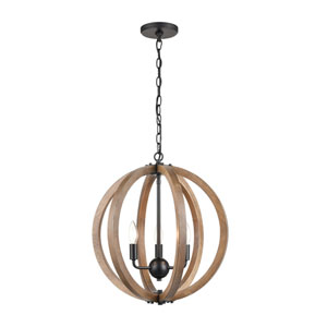 Barrow Birchwood and Matte Black 18-Inch Three-Light Chandelier