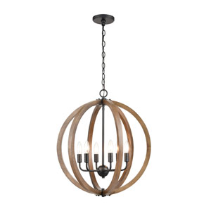 Barrow Birchwood and Matte Black Six-Light Chandelier