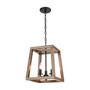 Barrow Birchwood and Matte Black 12-Inch Three-Light Chandelier