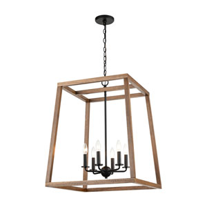 Barrow Birchwood and Matte Black 22-Inch Six-Light Chandelier