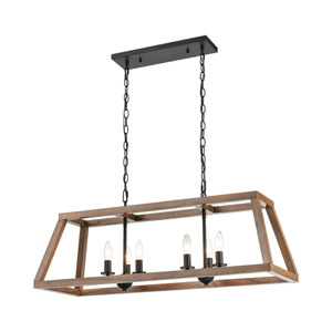Barrow Birchwood and Matte Black Six-Light Island Chandelier