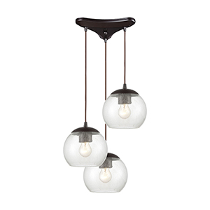Kendal Oil Rubbed Bronze Three-Light 12-Inch Pendant