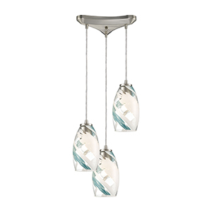 Turbulence Satin Nickel Three-Light 12-Inch Pendant