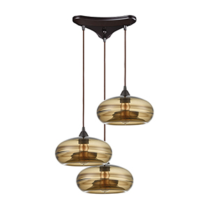 Hazelton Oil Rubbed Bronze Three-Light 12-Inch Pendant