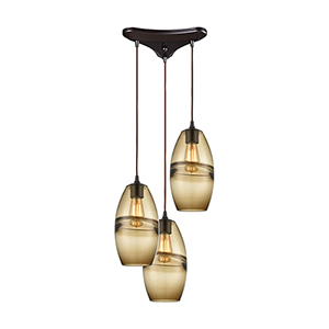 Melvin Oil Rubbed Bronze Three-Light 12-Inch Pendant
