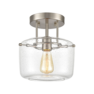 Jake Satin Nickel One-Light Semi Flush Mount