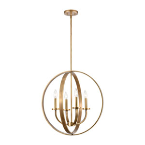 Erindale Natural Brass Four-Light Chandelier