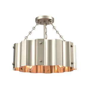 Clausten Matte Nickel Three-Light Semi Flush Mount