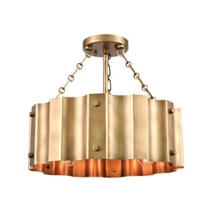 Clausten Natural Brass Three-Light Semi Flush Mount