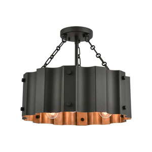 Clausten Black and Gold Three-Light Semi Flush Mount