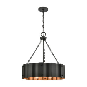 Clausten Black and Gold Four-Light Chandelier