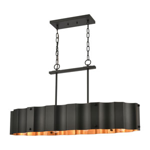 Clausten Black and Gold Four-Light Island Chandelier