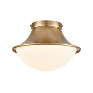Matterhorn Natural Brass 11-Inch One-Light Flush Mount