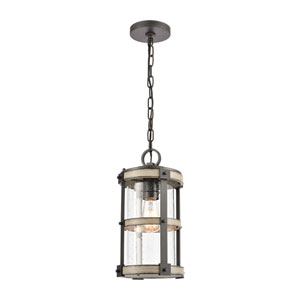 Crenshaw Anvil Iron and Distressed Antique Graywood One-Light Outdoor Pendant