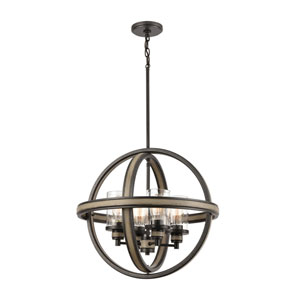 Beaufort Anvil Iron and Distressed Antique Graywood Four-Light Chandelier