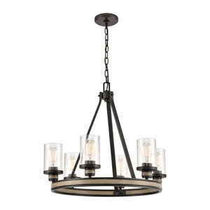 Beaufort Anvil Iron and Distressed Antique Graywood Six-Light Chandelier