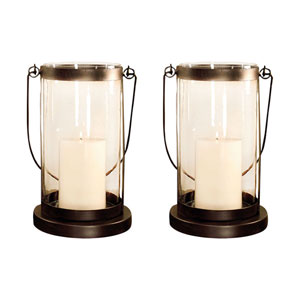 Urban Grass Metal and Glass 13-Inch Candle Holder, Set of Two