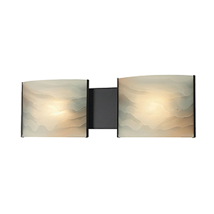 Pannelli Oil Rubbed Bronze 19-Inch Two-Light Bath Vanity Hand-Moulded Honey Alabaster Glass