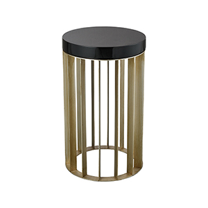 East Egg Antique Silver and Black Accent Table