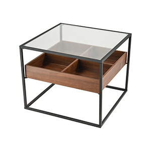 Rubric Black and Walnut Accent Table