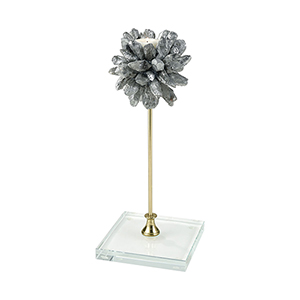 Punk Silver Precious Stone with Crystal Candle Holder