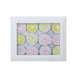 Handpainted Wall Art Gloss White Rose Cupcakes Wall Art
