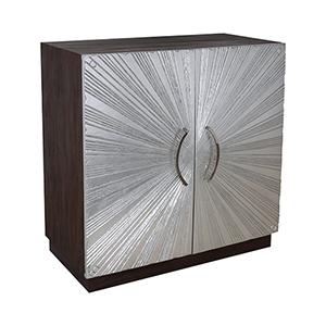 Silver Starburst Silver Leaf 36-Inch Cabinet