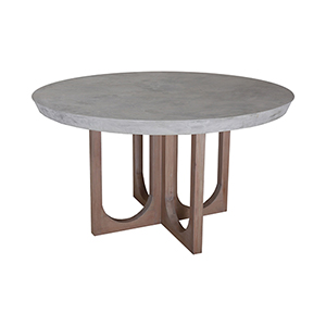 Innwood Round Concrete and Blonde Stain Dining Table