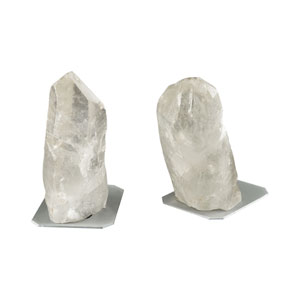 Ulikool Clear Rock Crystal Bookends - Set of 2