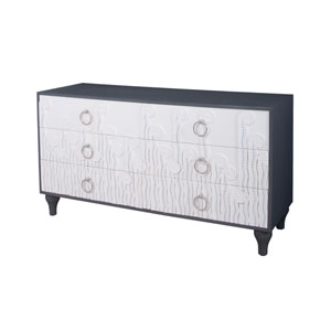 Deco Cappuccino Foam and Antique Smoke Fern 6 Drawer Chest