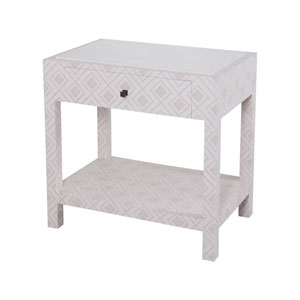 Kent Dove White and Gray Fabric Wrapped Bedside Table