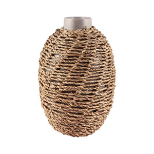 Jaffa Matte Stone Grey and Natural Seagrass Vase - Small