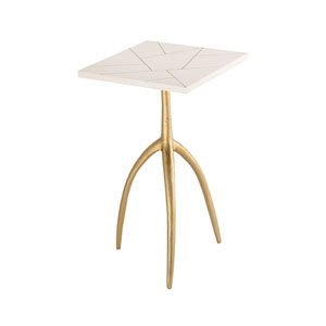 Houblon Gold and White Accent Table