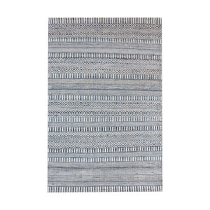Devan Ivory and Blue Handwoven Rug 9x12