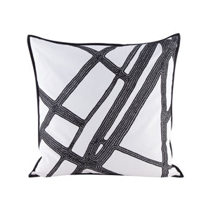 Intersections Black and White Pillow With Goose Down Insert