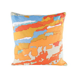 Orange Topography Pillow With Goose Down Insert
