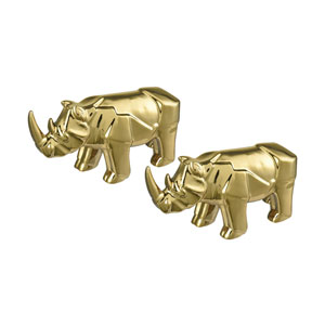 Great Karoo Gold Plate Ceramic Rhinos - Set of 2