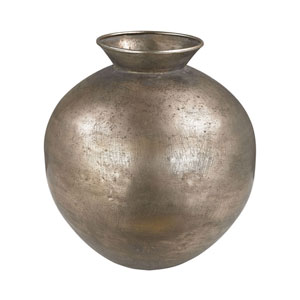 Natured Aged Bulbous Metal vase