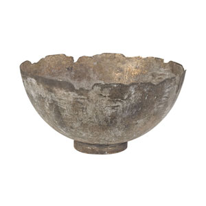Thracian Natured Aged Jagged Mouth Metal Bowl