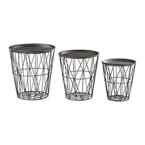 Rexx Graphite Round Tables- Set of 3