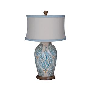 Handpainted One-Light Terra Cotta Table Lamp with European Tile Art