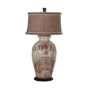 Handpainted Wine Label One-Light Terra Cotta Lamp