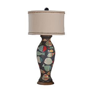 Signature White One-Light Terra Cotta Lamp with Handpainted Fish