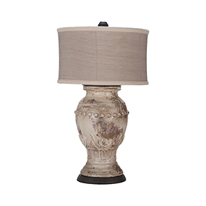 Weathered Grey One-Light Terra Cotta Lamp
