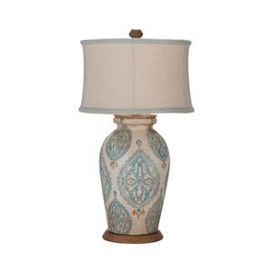 Handpainted Antique White One-Light Terra Cotta Lamp VII
